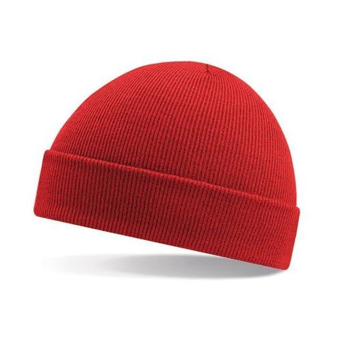 Gorro de lana Beechfield con pliegue en rojo