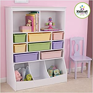KidKraft Wooden Wall Storage Unit with 8 Plastic Bins & 13 Compartments - White