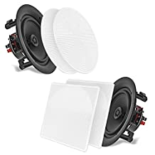 PYLE HOM PDIC56 In-Wall/in-Ceiling 5.25-Inch Dual Stereo Speakers, 150 Watt, 2-Way, Flush Mount, White