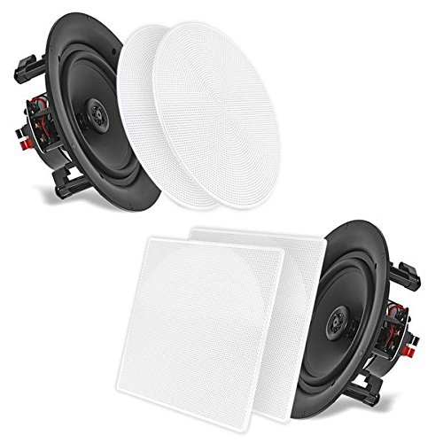 "Flat Panel Stereo Speaker - 5.25'' In-Wall/In-Ceiling Dual Speakers (Pair) - 2-Way Woofer Speaker System 1/2"" Polymer Tweeter Flush Mount w/ 80Hz - 20kHz Frequency Response 150 Watts Peak 8 Ohm Rating - Pyle PDIC56 (White)"