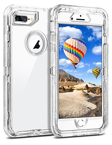 "iPhone 8 Plus Case, iPhone 7 Plus Case, Coolden Clear Phone Case Hybrid Protective Dual Layer Shockproof Case with Hard PC Bumper + Soft TPU Back for 5.5"" iPhone 6/6S/7/8 - Hard Hybrid Case"