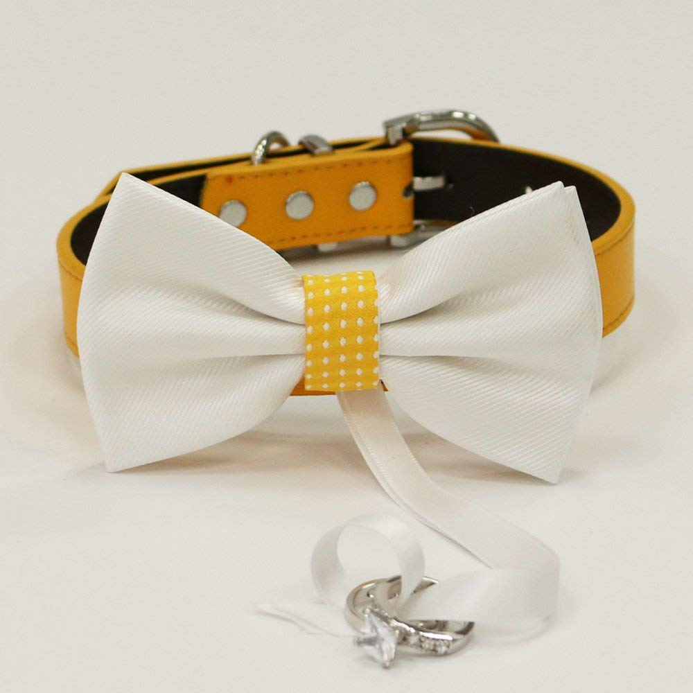 Sunny Yellow Dog Bow Tie ring bearer collar Dog ring bearer Dog of honor Proposal White leather dog collar Yellow leather collar