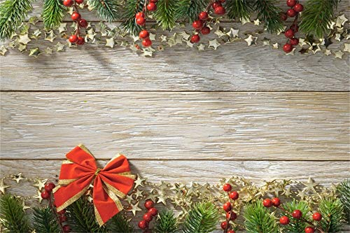 CSFOTO Christmas Backdrop 10x6.5ft Photography Background Bowknot Red Berry Fir Tree Branches Golden Stars Wood Board New Year Festival Celebration Family Party Children Shoot Background Studio Props