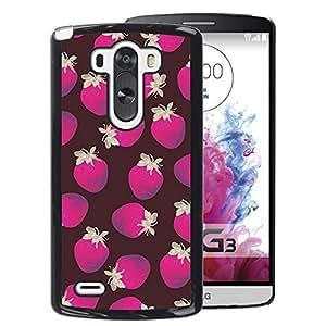 A-type Arte & diseño plástico duro Fundas Cover Cubre Hard Case Cover para LG G3 (Poly Art Strawberry Brown Purple Pattern)