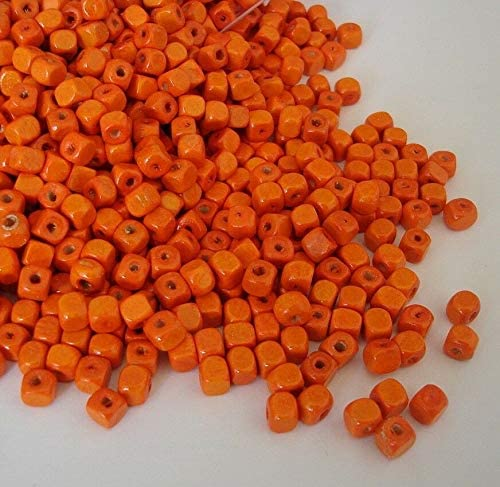 Wood Beads Cube Orange Color 5x5x5mm. 200pcs