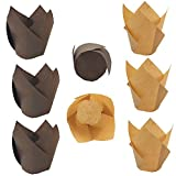 SkyCooool 200PCS Tulip Cupcake Muffin Liners Floral Baking Cups for Birthdays, Weddings, Parties, Brown and Natural