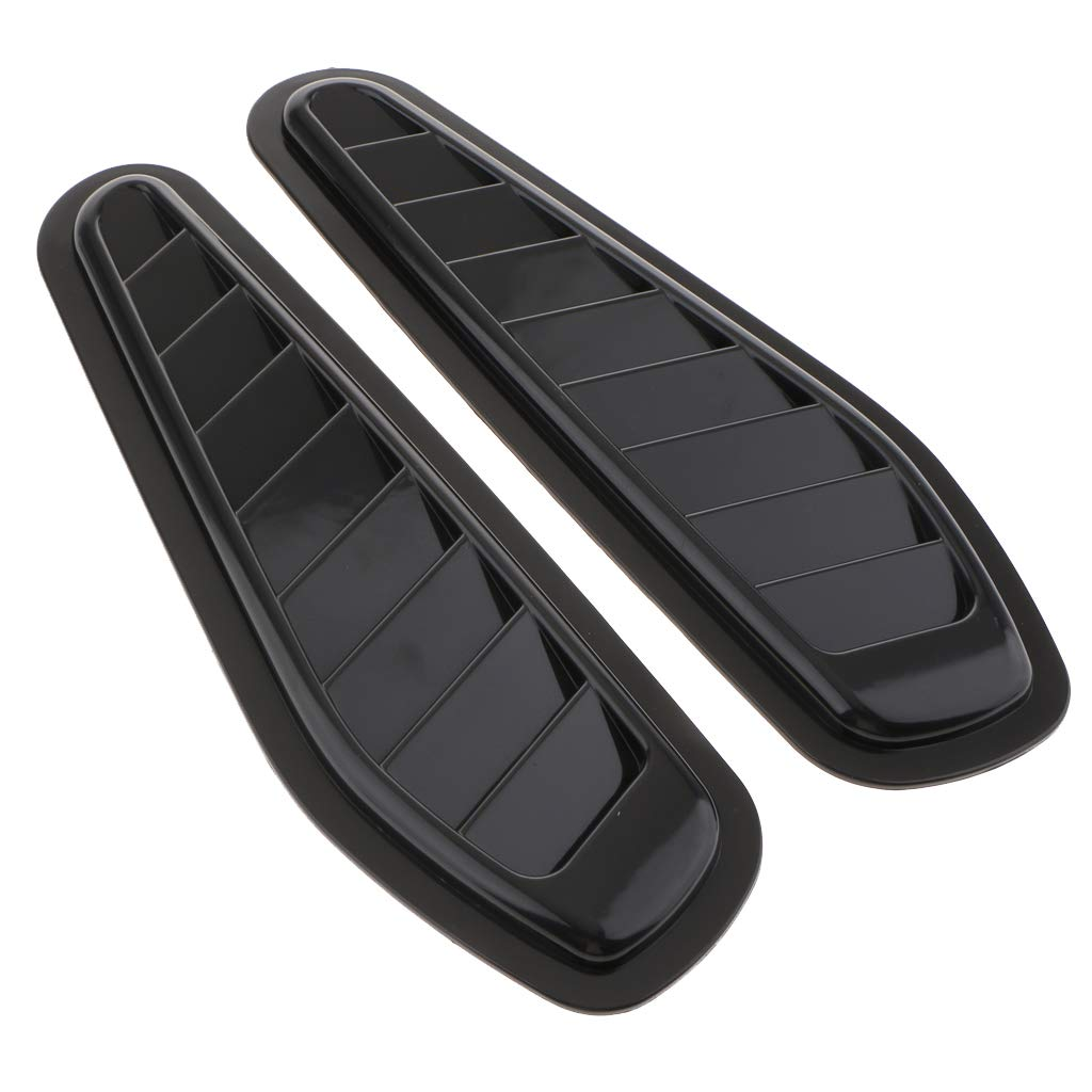 Black Flameer 2X Car Air Flow Intake Scoop Turbo Bonnet Vent Cover Hood Fender Decorative
