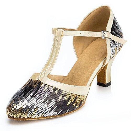 Misu Women's Closed Toe Suede Sole Latin Salsa Tango Practice Ballroom Dance Shoes 2.0