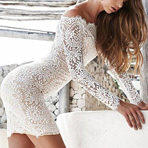 Damen Langarm Spitze Trägerlos Young Fashion Kleid Minikleid Ballkleid Cocktailkleid Festkleid