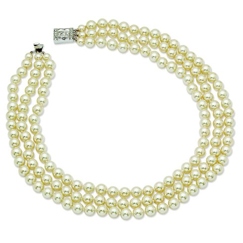 (Jackie Kennedy Triple Strand Shell Pearl Necklace 18 Inch Length JBK)