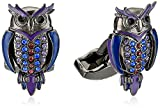 Tateossian Gun Metal Opaque Enamel Blue-Purple Moving Arms Mechanicals Owl Cuff Link