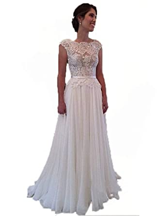 Blevla Cap Sleeve Applique Chiffon Wedding Dress Summer Wedding Dress at Amazon Womens Clothing store:
