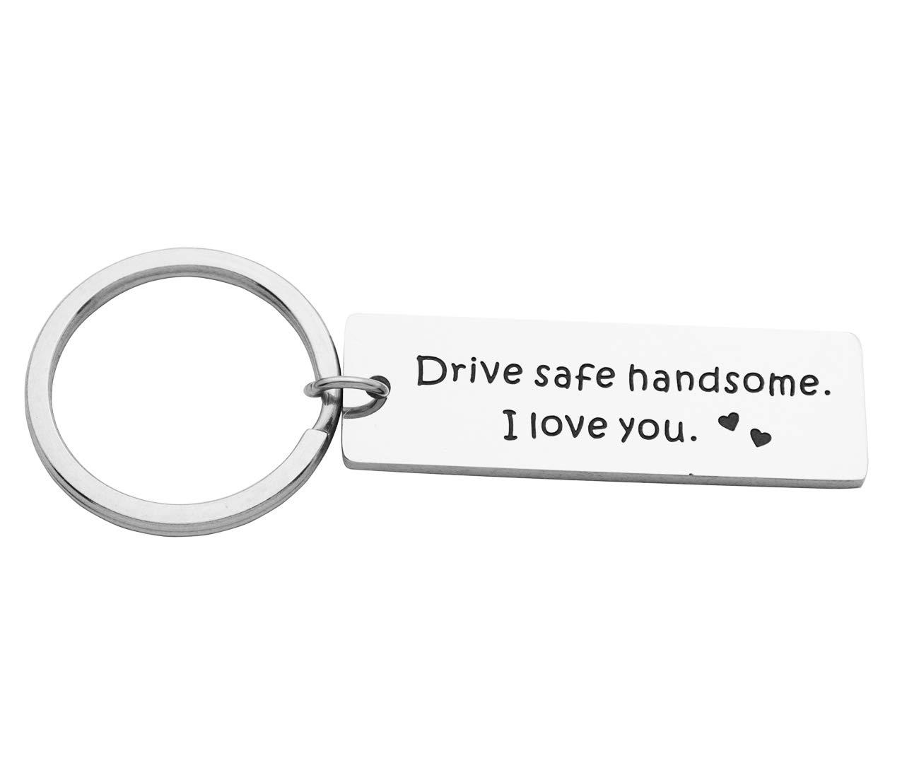 Eilygen Drive Safe Keychain Gift for Trucker Husband Boyfriend I Love You Trucker Gift (Drive Safe Handsome I Love You)