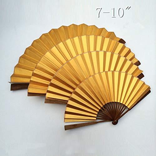 SeedWorld Decorative Fans - Rice Paper Gold Fan Decoration Chinese Hand Fan Painting DIY Fine Art Program Adult Calligraphy Big Bamboo Folding Fan 7-10
