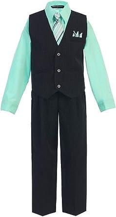24 Months OLIVIA KOO Boys Colored Shirt Pinstripe 4 Piece Pinstriped Vest Set Size Infant-Boy,Turquoise,X-Large