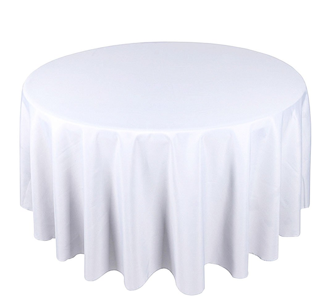 White Round Tablecloth Linen Banquet Poly Seamless Table Cloth ALL SIZES AVAILABLE (132 INCH) Trimming Shop