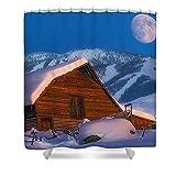 Pixels Shower Curtain (74'' x 71'') ''Steamboat Dreams''