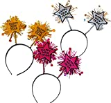 New Year's Eve Headbands - 12 Pack Silver Gold Pink Party Headbands for NYE Countdown Party