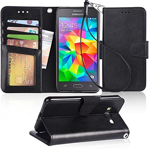 Grand Prime Case, Arae Samsung Galaxy Grand Prime wallet case,[Wrist Strap] Flip Folio [Kickstand Feature] PU leather wallet case with ID&Credit Card Pockets For Samsung Galaxy Grand Prime (Black)