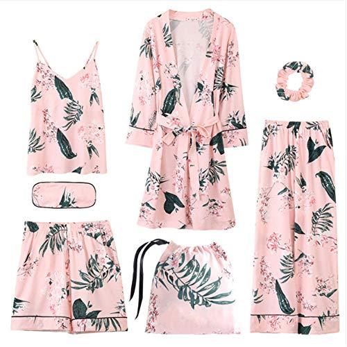 Pantaloni Accappatoio Cotone Meaeo Velluto Pezzi 7 Lunga Elastica Set Donna Pantaloncini Color Manica Elegante Completi In Photo Pigiama Vita nxR4wxaP1