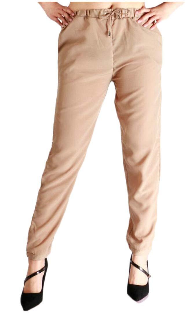 Qiangjinjiu Women's Active Pants Drawstring Waist Jogger Sweatpant Khaki XS