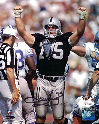Howie Long Autograph - Howie Long Autographed Oakland Raiders 8x10 Photo Arms Up JSA