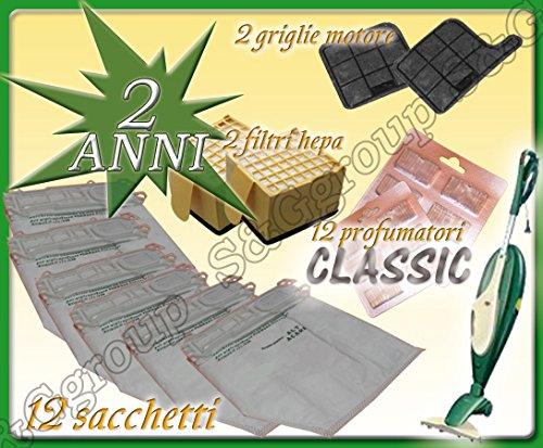 2 Filtri Griglia Motore 2 Filtri HEPA Kit 12 Sacchetti Compatibile Per Vorwerk Folletto VK135//136 Garanzia 24 Mesi SG group 12 Profumini