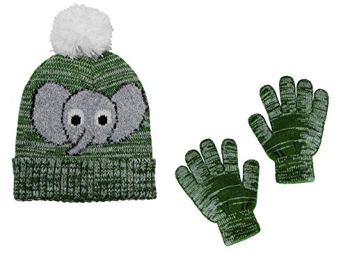 Polar Wear Boys Elephant Soft Stretch Knit Beanie Hat & Gloves Set, Green