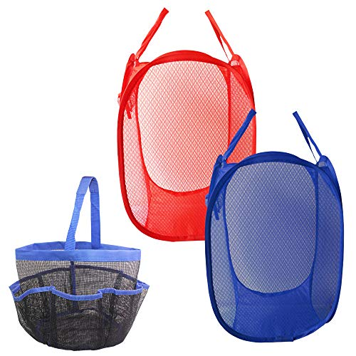 DaKuan 2 Pack Mesh Pop-Up Laundry Hamper Basket and 1 Pack Portable Mesh Shower Caddy Tote, Clothes Hampers with Side Pocket, Blue, Red, Hanging Bath & Toiletry Organizer Bag, Blue