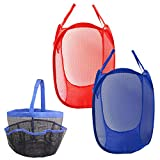 2 Pack Mesh Pop-Up Laundry Hamper Basket and 1 Pack Portable Mesh Shower Caddy Tote, DaKuan Clothes Hampers with Side Pocket, Blue, Red, Hanging Bath & Toiletry Organizer Bag, Blue
