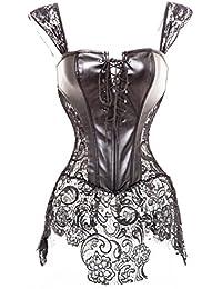 Womens Faux Leather Zipper Front Bustier Corset Top