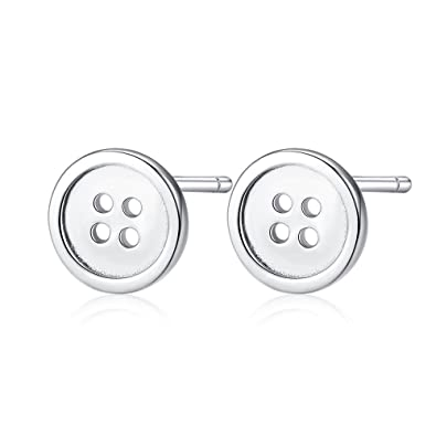 f1ffe3047 Image Unavailable. Image not available for. Color: Hypoallergenic 925 Sterling  SIlver Tiny Round Button Stud Earrings ...