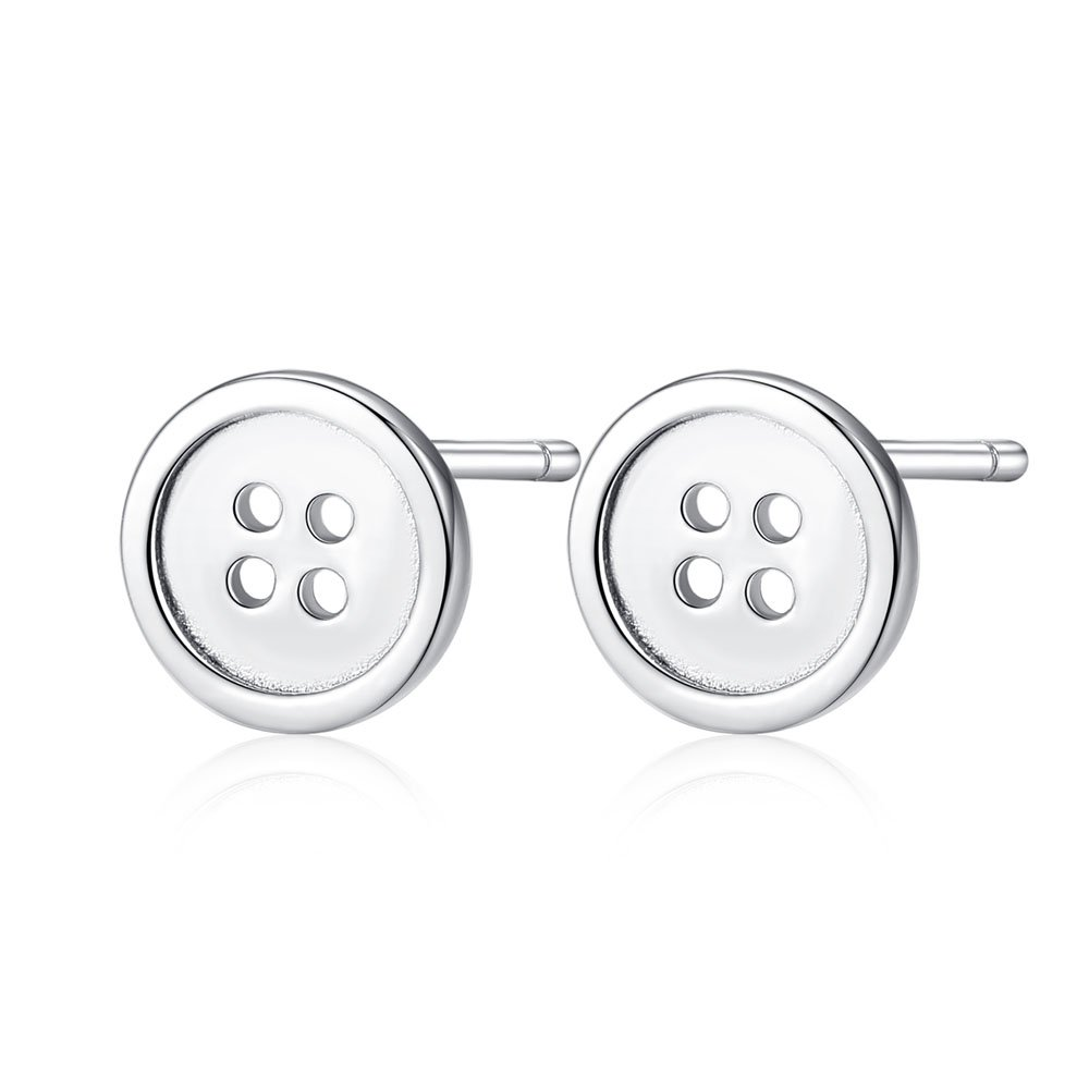 Hypoallergenic 925 Sterling SIlver Tiny Round Button Stud Earrings Minimalist Jewelry For Women Men 6mm