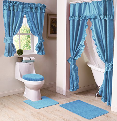 Madison MAD SWG WC BL Bathroom Window Curtain, Blue  Bathroom Window Curtains