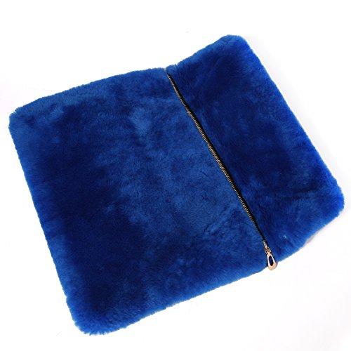 URSFUR invernale in pelliccia di lana, a forma di busta da sera, da donna, con chiusura a cartella, con borsa blu scuro