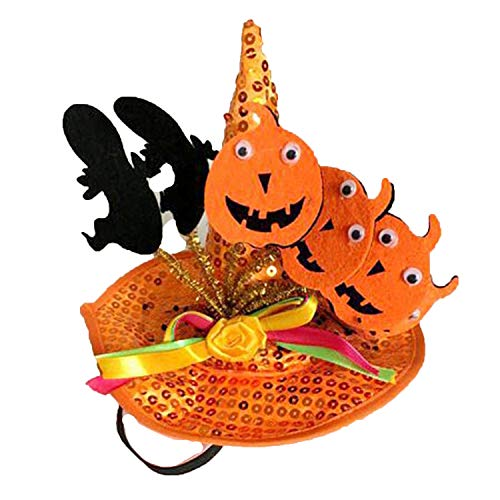 Funny Cute Pet Costume Cosplay Spider Pumpkin Witch Cap Hat for Cat Kitten Halloween Xmas Fancy Dress,OR1,M]()