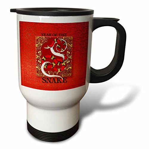 Chinese Snake Gold White (3dRose Chinese New Years Year of The Snake in Reds Gold and Black, Stainless Steel Travel Mug, 14-Oz)