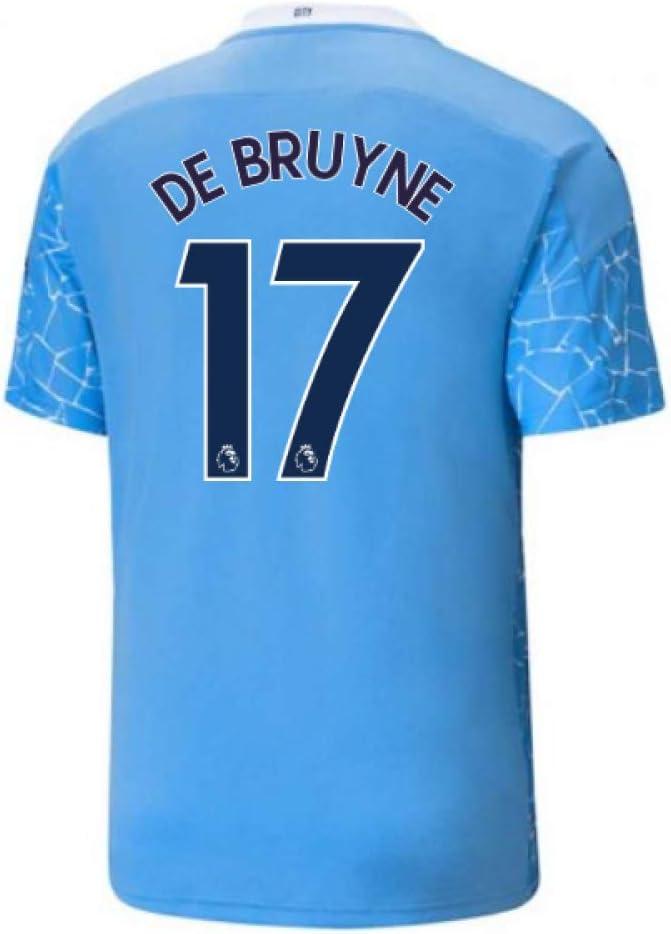2020-2021 Manchester City Home Football Soccer T-Shirt Jersey (Kevin De Bruyne 17)