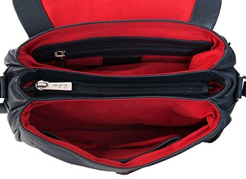 Mala anishka Kleine Navy Blue Soft Leder Überschlag Schulter 3Abschnitt Handtasche Tasche 764–75