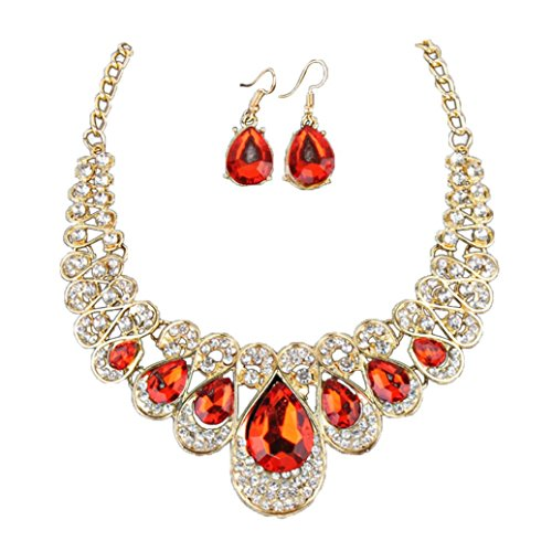 ❤Todaies❤Women Fashion Crystal Necklace Jewelry Statement Pendant Charm Chain Choker Valentine's Gift (45+5cm, Red)