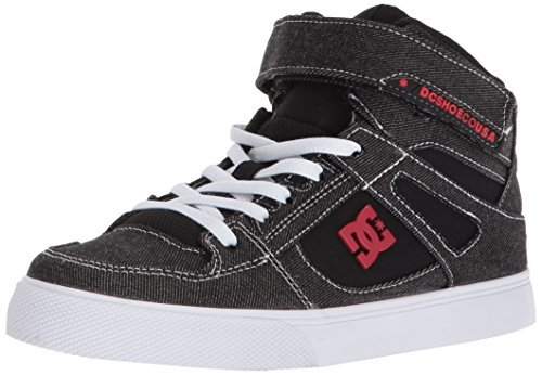 DC Boys' Pure HIGH-TOP TX SE EV Skate Shoe Black/RED/White 11 M US Little Kid ()