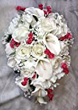 PINK & WHITE Cascade Bridal Bouquet Roses Calla Lilies Silk Wedding Flowers