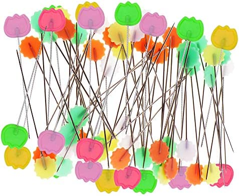 Epingles de T/ête Plate Epingle T/ête FLEURS 300pcs Aiguille de T/ête Ronde avec des Cas Transparents Pour la Confection de Bijoux Composants de Fleurs D/écoration Florale #1