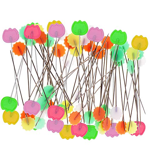 Quilting Pins 200Pcs Flat Head Decorative Sewing Pins/Long Straight Pins/Flower Head Pins/Colored Flat Button Pins with A Clear Cases, Extra Fine for Dressmaking Jewelry Components Flower (B)