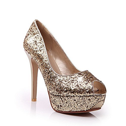 AmoonyFashion Womens Peep Toe Pull On Blend Materials Solid Spikes Stilettos Sandals Gold