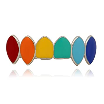 Amazon.com: Rainbow Hip Hop - Juego de parrilla dental con ...