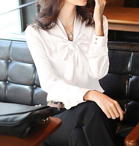 t Lache Col Plier D'Affaires WSLCN Longues Manches Chemisier Mousseline Blanc Occasionnel Dcontract Blouse de D'Arc Dames Chemise Shirt Tops T Femme Soie Shirts Sexy HffrqUR