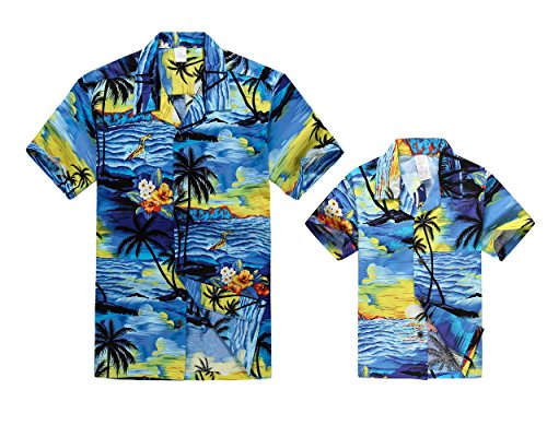 Luau Outfits For Adults (Matching Father Son Hawaiian Luau Outfit Men Shirt Boy Shirt Blue Sunset M-10)