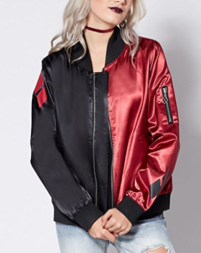 Harley Quinn Diamonds Red and Black Juniors Fitted Bomber Jacket (M)