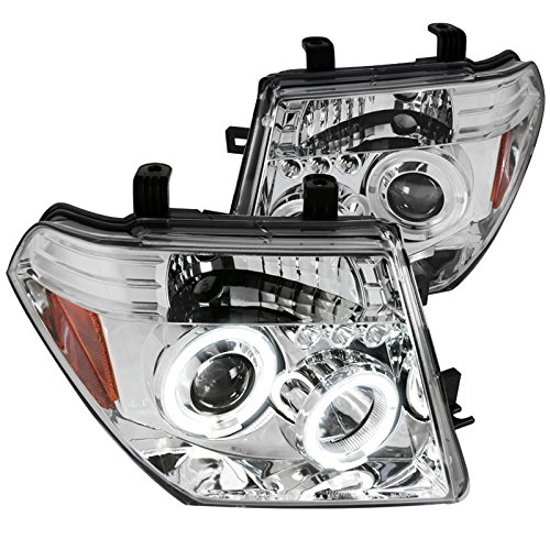 Spec-D Tuning 2LHP-PATH05-TM Nissan Pathfinder/Frontier Chrome Clear Halo Led Projector Head Lights